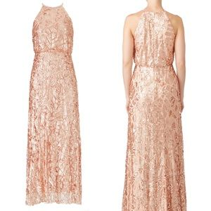 BHLDN Anthropologie Donna Morgan rose gold gown 6